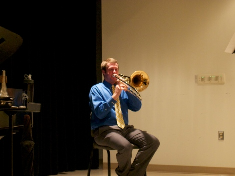 Andrew Birschbach warming up before his Honors Recital on 11.3.2013